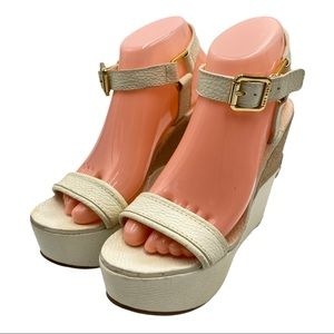 Tory Burch white 'Carlee' Wedges / Sandals size 8M
